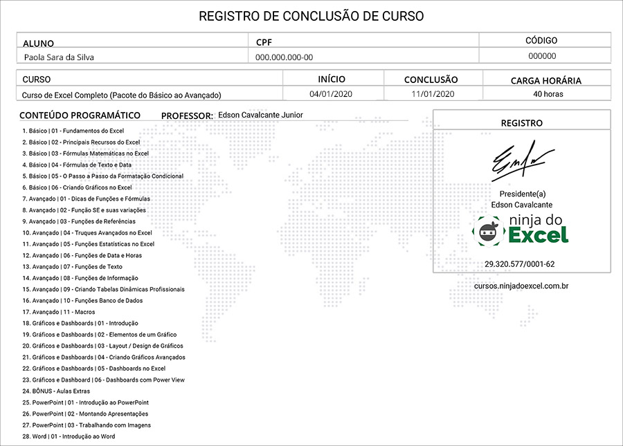 Certificado Ninja do Excel - Verso